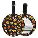 Juego de etiquetas de equipaje de piel para hamburguesa con diseño de helado francés, accesorios de viaje, etiquetas redondas Negro Negro 4 PCS