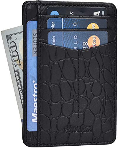 Minimalist Wallet for Women and Men - RFID Blocking Front Pocket Leather Wallet