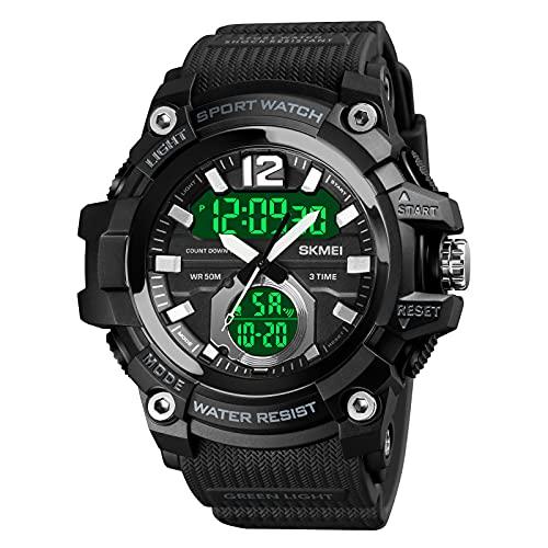 Anna 腕時計 メンズ デジタル腕時計 人気 スポーツ 50メートル防水 おしゃれ かっこいい 多機能 LED表示 大画面 アウトドア(ブラック)