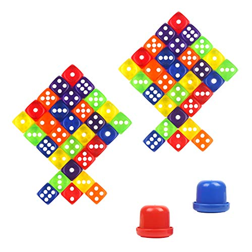 KATOOM 62 Stück Würfel Bunt Set 60er Farbig Dice mit 2 Würfelbecher 14mm Spielwürfel Partyspiel für Brettspiel Kartenspiel Tenzi Ligretto