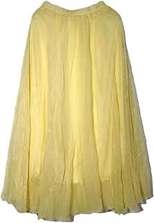 Macondoo Womens Summer Solid Boho Swing Maxi Chiffon Skirts