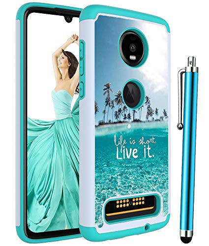 Moto Z4 Case,Moto Z4 Play Case,Voanice Shockproof Hybrid Heavy Duty Rugged Protective Phone Case Hard PC&Silicone Rubber Dual Layer Armor Protection Women Girls Men for Motorola Moto Z4 Play -Teal Sea