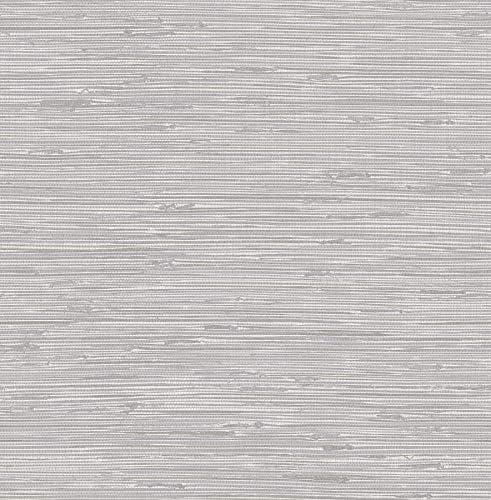 NuWallpaper NUS3340 Tibetan Grasscloth Silver Peel Stick Wallpaper product image