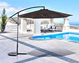 SUNCREAT 10FT Offset Cantilever Umbrella Patio Outdoor Hanging Umbrella with Crank Lift and Cross Base (Coffee)
