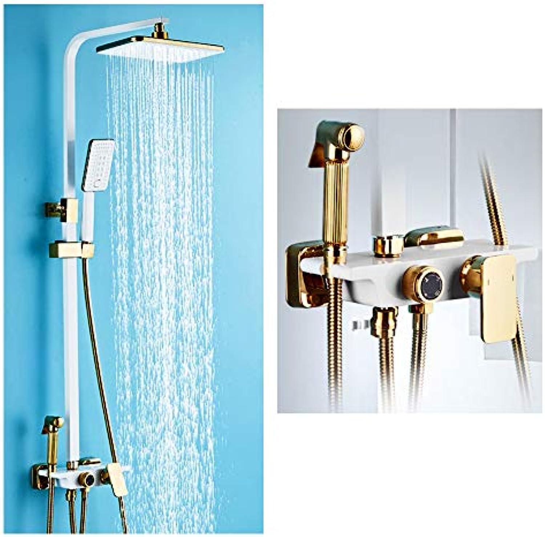 Duschsystem, Badezimmer-Duschset Wandmontierte Knopf-Dusche im europischen Stil Weies Gold Duschkopf Kupfer Material Wasserhahn