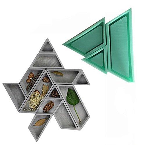 Never-hu DIYMold Combined Flowerpot Silicone Mould, Moule en silicone pour la décoration de la jardinière en béton, -50 ° C-300 ° C, Vert bleuâtre