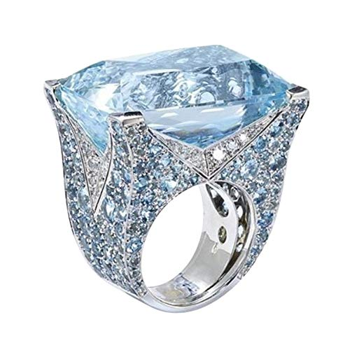 Luxus Intarsien übertrieben Atmosphäre blauen quadratischen Ring YunYoud fußring schöne Ringe damenschmuck schmaler Eheringe goldringe verlobungsringe stahlringe diamantring