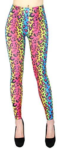 Leggings con estampado animal para mujer, suaves en patrón de tigre y leopardoJLl144 JL144-RainbowTiger Talla única