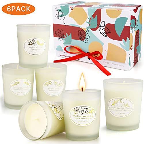 香味蜡烛礼品套装,芳香疗法蜡烛为家庭有气味富裕,长长的燃烧大豆蜡烛,女性女孩浴缸和身体作品蜡烛香水罐子蜡烛礼品 -  6包