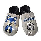 Krabbelschuhe aus Leder mit Namen Name Fuchs Fußball Verein Baby Kindergarten personalisiert Junge oder Mädchen