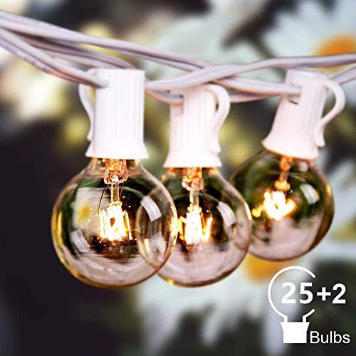 Catene luminose Esterno,G40 50FT 27 lampadine luci all'aperto Della Corda del Giardino del Patio, 7W Bianco caldo 2200K IP44 Luci da Luci Decorative del Corda,Luci di Natale del