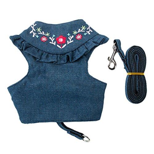 Denim Hundegeschirr Blau Jeans Prinzessin Brustgeschirre für Klein Hunde Vest Harness Haustier Kleidung Shirt Softgeschirr Welpengeschirr Katzen-Geschirr mit Hundeleine Führleine (XL, blau)