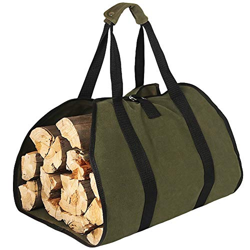 Waxed Canvas Log Carrier Bag, Water Resistant Firewood Carrying Bag Wood...