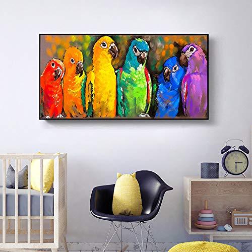 WunM, pittura a olio dipinta a mano su tela, decorazione astratta senza cornice, animale astratto, pappagallo colorato Pop Art colorato moderno, matrimonio, ufficio, hotel90 x 180 cm (76 x 180 cm)