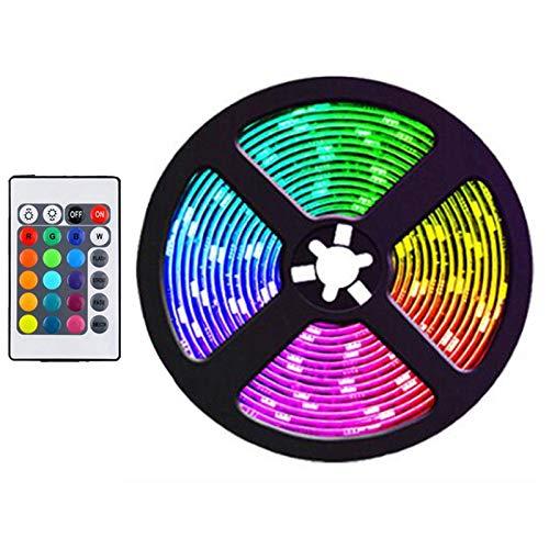 JISKGH Tira de Luces LED de 5 M, Tiras de Luz RGB Que Cambian de Color Flexibles una Prueba de Agua para JardíN, Dormitorio, DecoracióN DIY, Enchufe de la UE
