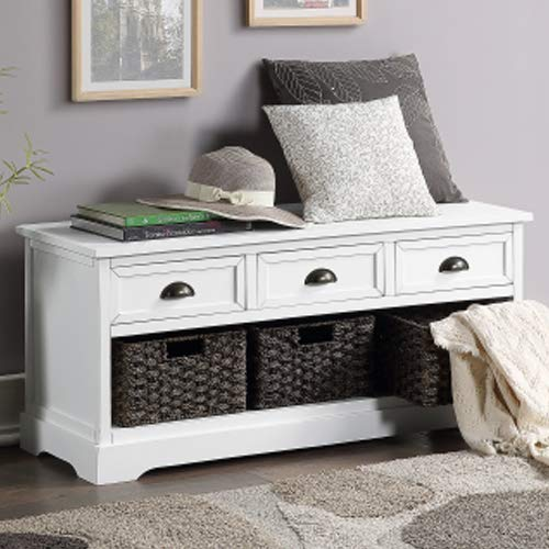 Storage Bench Homes Collection Wicker Storage Bench with 3 Drawers and 3 Woven Baskets, Wood Entryway Shoe Bench for Hallway, Entryway, Mudroom and Living Room