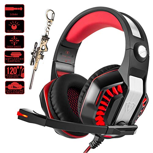Beexcellent Gaming Headset for PC PS4 Xbox One with Mic. Over-Ear Headphones for Laptop Games with Noise Cancelling Stereo 51mm Driver Memory Earmuffs Volume Control Gift for Kids