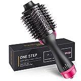 STRAIGHTENER Hair Dryer Brush, Hot Air Hair Brush, 2 in 1 Multifunctional Hot Air Brush with Negative Ion Curling Dryer Brush Styler, Hair Straightening Brush, Rotating Blow Dryer Brush,Black+Pink