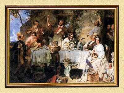 Kunstdruck Wein, Weib und Gesang Danhauser Biedermeier Malerei 19. Jahrhundert A3 08 Rahmen