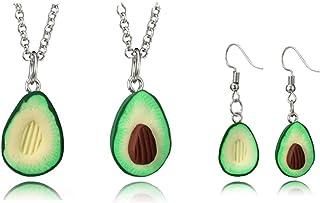 Fuqimanman2020 4pcs Best Friend Necklace Cute Avocado with Friendship Earring Set