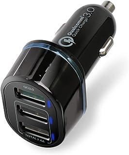 エレコム カーチャージャー 車載充電器 カー用品 急速充電 【 iPhone/Android/IQOS/glo 対応 】 USB×3ポート [ USB×1(QuickCharge3.0) / USB×2(最大2.4A出力) ] ブラック EC-DC04BK