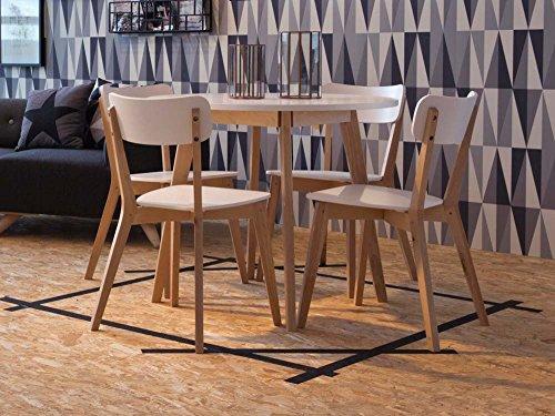 lifestyle4living Runder Esstisch in weiß lackiert mit Tischbeinen in mit klarem Lack überzogener Birke Nachbildung, Maße: B/H/T ca. 90/74/90 cm