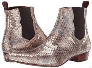 LUXDAMAI Bottes Courtes Western Cowboy Bottines pour Hommes Chaussures d'affaires Uniformes Chaussures Bullock en Cuir Bot...