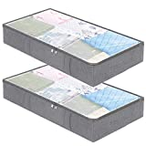 Under the bed Storage Bags Containers,Underbed Breathable Clothes Blanket Storage Drawers for Comforters,with Clear Window,Dual Zippers,4 Strong Handles Set of 2 Grey