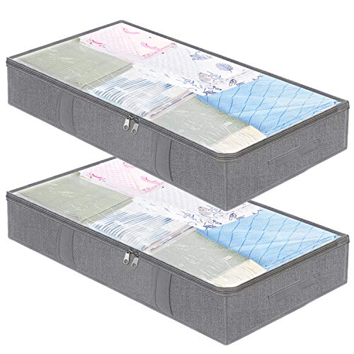 Underbed Storage Bags Containers 2 Pack - Large Capacity Under Bed Storage Box with 4 Handles and Sturdy Zippers,Clear Window for Blankets,Clothes,Comforters (Grey)