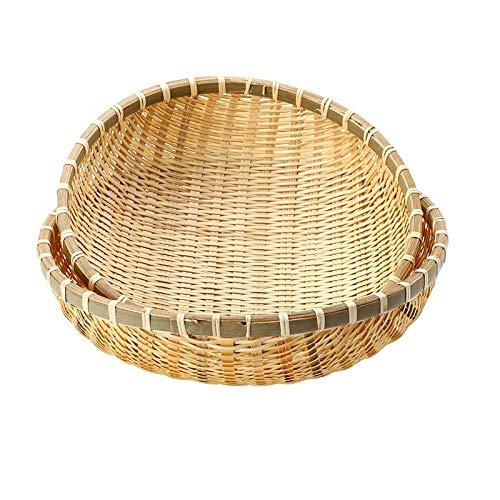 Ykun Plato de Frutas de Cocina Tejido de bambú, Cesta de Verduras escurrida, Cesta de Huevos, Cesta de bambú-Paquete de Descuento en CD