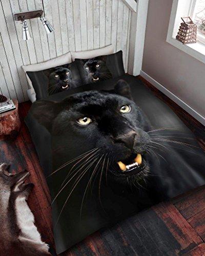 Gaveno Cavailia Wildlife Parure de lit avec Housse de Couette et taie d'oreiller Motif panthère Noire 3D