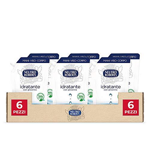 Neutro Roberts, Sapone Liquido Ecopouch Idratante Con Glicerina, Sapone Liquido Per Le Mani, Senza Sapone - 6 Flaconi da 400 ml