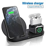 Wireless Charger for AirPods Pro, Coobetter 3 in 1 Wireless Charging Station,Wireless Charging Stand Watch Charger Compatible with iPhone 11/11 pro /11 Pro Max/Xs/XS Max/XR/X / 8 /8P (White)…