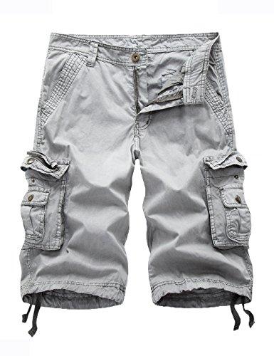 Women's Cotton Casual Zipper Multi-Pockets Twill Bermuda Drawstring Women Cargo Shorts Light Grey US 2