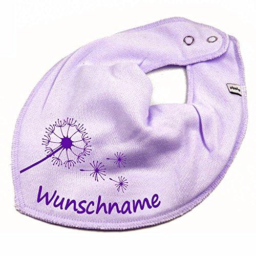 Elefantasie HALSTUCH PUSTEBLUME mit Namen oder Text personalisiert flieder für Baby oder Kind