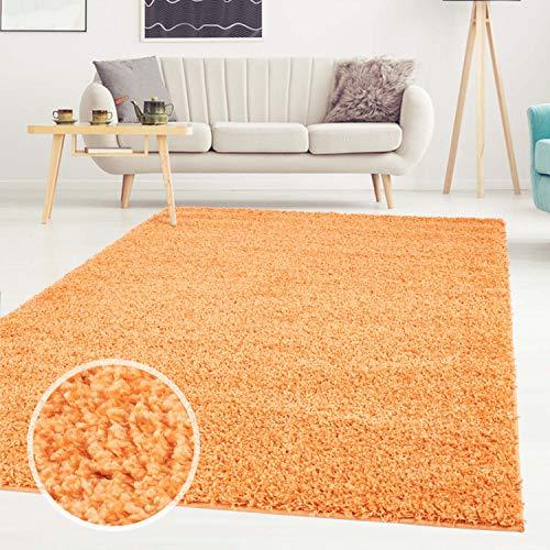 Carpet city ayshaggy Shaggy Teppich Hochflor Langflor Einfarbig Uni Orange Weich Flauschig Wohnzimmer, Größe: 200 x 200 cm Quadratisch, 200 cm x 200 cm