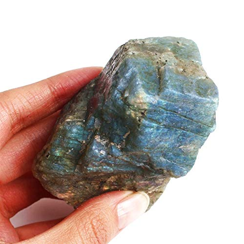 ABCABC 1 pc 70-200g Rare Bonne santé Labradorite Couleur Rock Cristal Stones de Cristal Stones minérales Collection Gemstone (Color : Good Labradorite, Size : 100 150g)