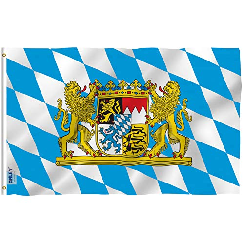 ANLEY Fly Breeze 3x5 Foot Bavaria with Lions Flag - Vivid Color and Fade Proof - Canvas Header and Double Stitched - Bavarian Lion Crest Flags Polyester with Brass Grommets 3 X 5 Ft
