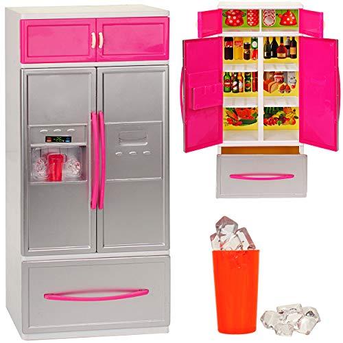 großer Kühlschrank mit Eiswürfelspender / Gefrierschrank - 31 cm - für Puppenhaus - Miniatur für Puppenstube - passend für alle gängigen Modepuppen - Plastik ..
