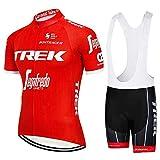 TeckBoo Verano Hombres Maillots de Ciclismo, Traje Ropa Manga Corta de Bicicleta y Culotte MTB con 5D Gel Acolchado (L, TK-RED)