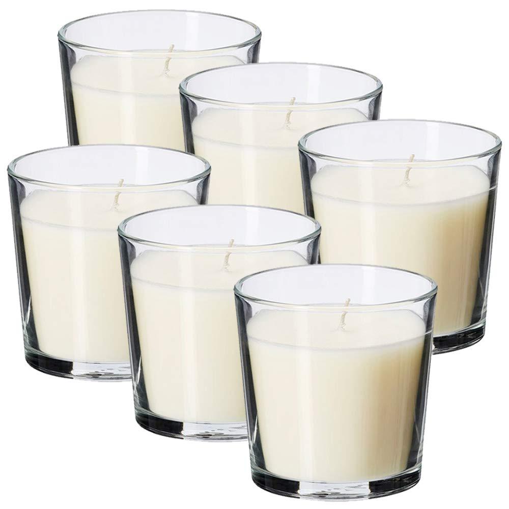 MGE - Velas Perfumadas - Velas Aromáticas en Vaso de Vidrio - 6 Unidades - Fabricado en España (Vainilla): Amazon.es: Hogar