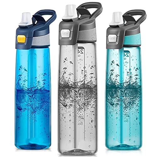 qwertyuiop Frasco Deportivo Botella de Agua Deportiva de 750 ml con Paja Frasco de Bebida Reutilizable Taza de Viaje Gris a Prueba de Fugas