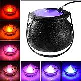 LOPJGH Halloween Black Cauldron with Mist Maker, Witch Jar Atomizer Lamp Punch Bowl with 12 LED Light Color Change Fogger Mist Maker Mini Candy Cauldron Decor (ABS Plastic)
