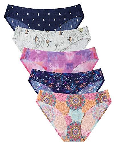 VOENXE Womens Seamless Underwear Breathable Stretch Bikini Panties 5 Pack Pattern Design Medium