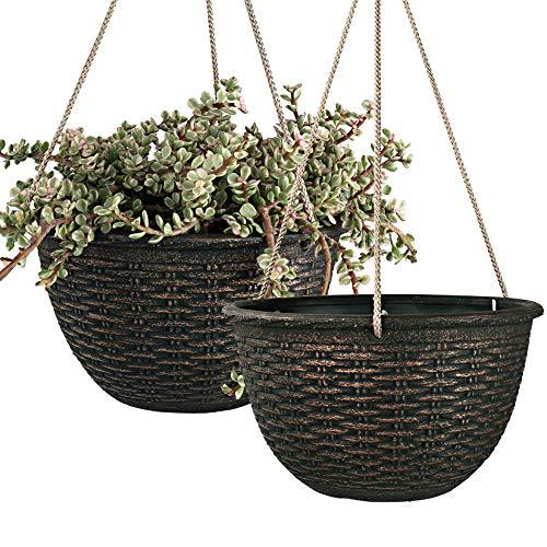 LA JOLIE MUSE Fioriere a sospensione di 25 cm per piante da interno, vasi pendenti per giardino, colore bronzo, motivo intrecciato, set da 2