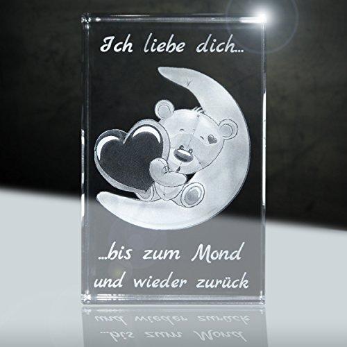 3D Glas | Ich Liebe Dich | Motiv: Teddy Mond | 80x50x50mm | Partnergeschenk