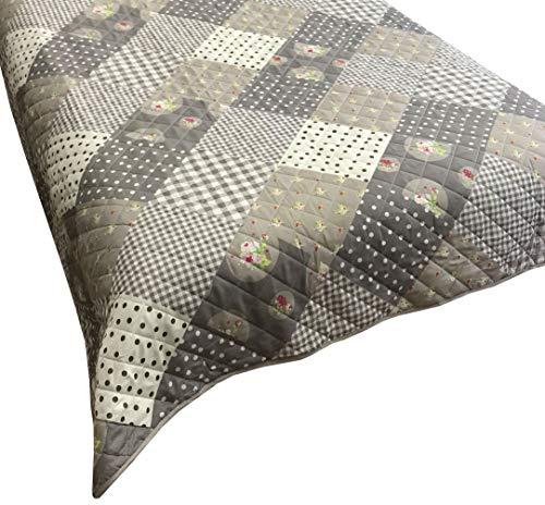 Leonado Vicenti Bettüberwurf 140x210 oder 240x220 Tagesdecke Sofaüberwurf Allzweckdecke wattiert gesteppt, Größe Tagesdecken:220 x 240 cm, Farbe Tagesdecken:Anthrazit Flora