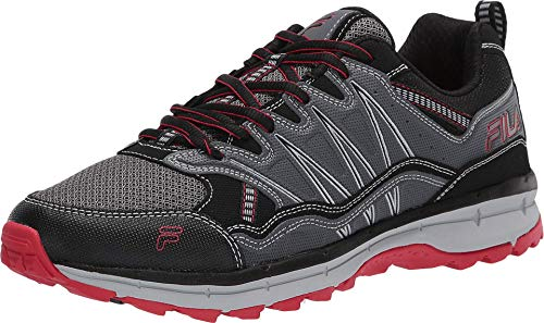 Fila mens Fila Evergrand Men's Trail Hiking Shoe, Castlerock/Black/Fila Red, 10.5 US