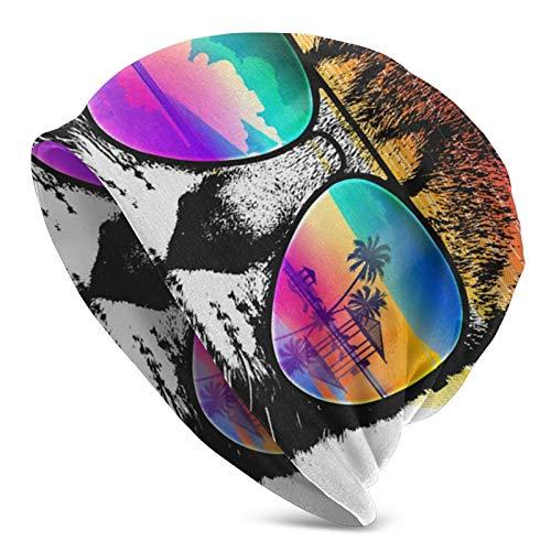 YBEAYQYXR Gafas de sol con diseño de calavera para gato, pasamontañas, pasamontañas, gorro de punto suave para mujeres y hombres