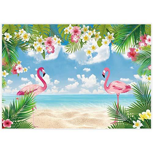 Allenjoy Toile de fond pour photographie Motif flamant rose et hawaïen 2,1 x 1,5 m